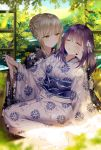 2girls absurdres artoria_pendragon_(all) bangs black_kimono blue_sky blurry blurry_foreground bow braid breasts closed_eyes closed_mouth clouds cloudy_sky commentary day depth_of_field eyebrows_visible_through_hair fate/stay_night fate_(series) floral_print hair_between_eyes hair_bow hair_bun highres holding_hands huge_filesize indoors interlocked_fingers japanese_clothes junpaku_karen kimono light_brown_hair long_sleeves looking_at_another matou_sakura medium_breasts multiple_girls obi parted_lips print_kimono purple_hair saber_alter sash sidelocks sky smile symbol_commentary tree white_bow white_kimono wide_sleeves wooden_floor yellow_eyes