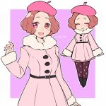 1girl :> :d ^_^ ^v^ artist_name beret blush brown_eyes brown_hair closed_eyes commentary_request do_m_kaeru hat okumura_haru open_mouth pantyhose persona persona_5 persona_5_the_royal pink_coat pink_headwear print_legwear purple_legwear short_hair skirt smile solo