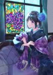 1girl bangs black_hair black_kimono blue_flower blush closed_mouth commentary_request couch curtains eyebrows_visible_through_hair floral_print flower fringe_trim hair_flower hair_ornament hydrangea indoors japanese_clothes kimono long_sleeves looking_away miyabi_akino on_couch original plaid print_kimono short_hair sitting smile solo stained_glass stole twitter_username violet_eyes wide_sleeves window