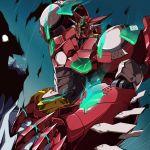 broken claws gamiani_zero getter-1_(devolution) getter_robo getter_robo_devolution glowing highres horns mecha no_humans sky super_robot