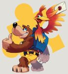1boy 1girl animal backpack bag banjo-kazooie banjo_(banjo-kazooie) bear bird blue_eyes brown_hair card feathers full_body green_eyes kazooie_(banjo-kazooie) microsoft nintendo no_humans open_mouth rareware shorts simple_background smile super_smash_bros. super_smash_bros._ultimate super_smash_bros_brawl taikodon thumbs_up wings