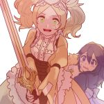 1boy 2girls ararecoa blonde_hair blue_eyes blue_hair dress eudes_(fire_emblem) falchion_(fire_emblem) fire_emblem fire_emblem:_kakusei holding holding_sword holding_weapon liz_(fire_emblem) lucina multiple_girls protecting sword twintails weapon yellow_eyes younger