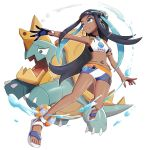 1girl bikini black_gloves black_hair blue_eyes blue_hair dark_skin drednaw earrings eyeliner full_body gen_8_pokemon gloves gonzarez gym_leader highres hoop_earrings jewelry lifebuoy long_hair makeup multicolored_hair necklace outstretched_arm parted_lips partly_fingerless_gloves pokemon pokemon_(creature) pokemon_(game) pokemon_swsh rurina_(pokemon) sandals single_glove smile swimsuit two-tone_hair very_long_hair white_background