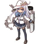 1girl absurdres anchor anchor_symbol black_legwear black_sailor_collar black_skirt blue_eyes blue_scarf flat_cap full_body hammer_and_sickle hat hibiki_(kantai_collection) highres izuna_yoshitsune kantai_collection long_hair machinery pleated_skirt remodel_(kantai_collection) sailor_collar scarf school_uniform serafuku silver_hair simple_background skirt solo thigh-highs verniy_(kantai_collection) white_background white_headwear