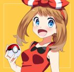 1girl :d blue_eyes blush bow breasts brown_hair collarbone eyebrows_visible_through_hair hair_bow hairband haruka_(pokemon) highres holding holding_poke_ball long_hair looking_at_viewer open_mouth poke_ball pokemon pokemon_(game) pokemon_oras red_hairband red_shirt shiny shiny_hair shirt sleeveless sleeveless_shirt small_breasts smile solo striped striped_bow upper_body yellow_background yuihiko
