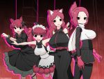 4girls :3 animal_ears arms_behind_back bangs black_bow black_dress blunt_bangs bow braid breasts cat_ears closed_mouth commentary_request crossover dress extra_ears eyebrows_visible_through_hair fangs folded_ponytail from_side frown gloves hair_bow hair_ribbon highres huge_breasts jacket juliet_sleeves kaenbyou_rin kemurikusa kyosuke_fujiwara large_breasts leaning_forward leg_up long_dress long_sleeves looking_at_viewer maid_headdress medium_dress microskirt multiple_girls open_mouth outstretched_arms pantyhose paw_pose puffy_sleeves red_eyes red_gloves red_ribbon redhead ribbon rin_(kemurikusa) rina_(kemurikusa) ritsu_(kemurikusa) scarf scrunchie short_hair silhouette skirt sleeveless sleeveless_dress smile spread_arms standing standing_on_one_leg touhou twin_braids twintails twitter_username white_jacket white_scarf white_scrunchie