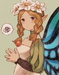 1girl blonde_hair blush braid butterfly_wings closed_mouth commentary_request dress fairy flower hair_flower hair_ornament long_hair looking_at_viewer maekakekamen mercedes odin_sphere pointy_ears red_eyes solo twin_braids wings
