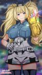 1girl avengers avengers:_endgame avengers:_infinity_war blonde_hair blue_eyes blue_shirt breast_pocket breasts collared_shirt commentary_request cowboy_shot gambier_bay_(kantai_collection) gloves hair_between_eyes hairband infinity_gauntlet kantai_collection katou_techu large_breasts looking_at_viewer marvel multicolored multicolored_clothes multicolored_gloves night night_sky pocket shirt shorts sky solo thigh-highs twintails white_legwear