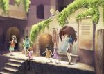 6+girls absurdres angel_wings aqua_skirt arch barefoot black_hair black_legwear blonde_hair blue_hair brown_hair dress grey_hair haibane_renmei hair_over_one_eye halo highres kawamranciel lantern long_hair medium_hair multiple_girls no_shoes outdoors painting pink_shirt purple_dress restaurant running school_uniform serafuku shirt short_hair shorts sign sitting skirt stairs thigh-highs white_wings wings wristband