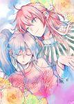 1boy 1girl 369-chan blue_hair botan_(yuu_yuu_hakusho) closed_mouth commentary_request flower highres kurama long_hair ponytail redhead smile yuu_yuu_hakusho