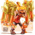 1boy black_shorts bracelet closed_eyes clothes_writing commentary dated diving_mask diving_mask_on_eyes domino_mask english_text fang firing food french_fries frown hair_ornament hair_scrunchie harutarou_(orion_3boshi) highres inkling inkling_(language) jellyfish_(splatoon) jewelry leaning_forward logo male_focus mask multicolored_footwear multicolored_scrunchie orange_hair paint_splatter parted_lips pointy_ears print_shirt red_shirt sandals scrunchie shirt shorts snorkel splatoon_(series) splatoon_2 standing t-shirt tenta_missiles_(splatoon) tentacle_hair topknot
