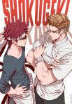 2boys bandana blonde_hair chef chef_uniform copyright_name crossed_arms crossover dishwasher1910 duel gordon_ramsay hands_on_hips looking_at_another multiple_boys pencil real_life redhead shokugeki_no_souma watch yukihira_souma