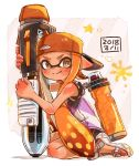 1girl backwards_hat ballpoint_splatling_(splatoon) bangs baseball_cap black_shorts blunt_bangs brown_eyes closed_mouth commentary dated diagonal-striped_background diagonal_stripes domino_mask full_body gym_shorts harutarou_(orion_3boshi) hat holding holding_weapon ink_tank_(splatoon) inkling logo long_hair looking_at_viewer mask orange_hair orange_headwear outside_border pointy_ears sandals shirt shorts sitting sleeveless sleeveless_shirt smile solo sparkle splatoon_(series) splatoon_2 striped striped_background tan tentacle_hair wariza weapon white_footwear white_shirt