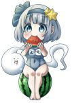 ._. 1girl :3 alternate_costume arms_up barefoot blush breasts character_name chibi commentary eating eyebrows_visible_through_hair food food_in_mouth fruit grey_eyes hair_ornament hair_ribbon highres holding holding_food holding_fruit impossible_clothes impossible_swimsuit konpaku_youmu konpaku_youmu_(ghost) large_breasts looking_at_viewer melon_slice old_school_swimsuit one-piece_swimsuit open_mouth pegashi ribbon school_swimsuit short_hair silver_hair simple_background sitting_on_food smile solo star star_hair_ornament swimsuit thick_eyebrows touhou translated watermelon white_background