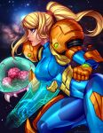 1girl arm_cannon blonde_hair blue_bodysuit blue_eyes blushy-pixy bodysuit breasts commentary digital_dissolve english_commentary hair_ornament hair_scrunchie hologram impossible_bodysuit impossible_clothes large_breasts lips metroid metroid_(creature) mole mole_under_mouth nose patreon_username pauldrons ponytail power_armor samus_aran scrunchie shiny shiny_clothes skin_tight solo_focus space varia_suit weapon zero_suit