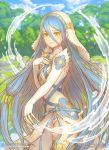 1girl aqua_(fire_emblem_if) artist_name asymmetrical_legwear blue_hair blue_sky clouds cute day dress elbow_gloves fingerless_gloves fire_emblem fire_emblem_heroes fire_emblem_if gloves hair_between_eyes intelligent_systems jewelry long_hair marfrey nintendo outdoors panties parted_lips pendant sky solo splash splashing super_smash_bros. tree underwear veil watermark web_address white_dress white_gloves white_panties yellow_eyes