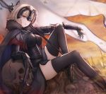 1girl ahoge armor armored_dress bangs black_dress black_legwear breasts cape chain commentary_request dress eyebrows_visible_through_hair fate/grand_order fate_(series) flag fur-trimmed_cape fur_collar fur_trim gauntlets headpiece highres jeanne_d'arc_(alter)_(fate) jeanne_d'arc_(fate)_(all) large_breasts reclining short_hair silver_hair skull smile_(dcvu7884) solo sword thigh-highs tsurime weapon yellow_eyes yellow_sky
