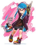 1girl bangs bike_shorts black_jacket black_shirt black_shorts blue_hair blunt_bangs closed_mouth commentary dated diagonal-striped_background diagonal_stripes domino_mask dual_wielding full_body harutarou_(orion_3boshi) highres holding holding_weapon hood hood_up ink_tank_(splatoon) inkling jacket light_frown long_hair looking_at_viewer mask miniskirt multicolored_footwear navy_blue_skirt open_clothes open_jacket paint_splatter pointy_ears print_jacket print_skirt shadow shirt shoes shorts shorts_under_skirt single_vertical_stripe skirt solo splatoon_(series) splatoon_2 standing standing_on_one_leg striped striped_background tentacle_hair tetra_dualies_(splatoon) twitter_username violet_eyes weapon