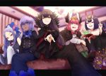 5girls bangs black_cape black_dress black_hair black_kimono blue_dress blue_eyes blue_hair blue_neckwear blurry bow bowtie breasts brown_footwear brown_hair cape circe_(fate/grand_order) collarbone commentary_request couch cup depth_of_field diadem dress earrings eyebrows_visible_through_hair fate/apocrypha fate/grand_order fate/prototype fate/prototype:_fragments_of_blue_and_silver fate_(series) floral_print from_below green_legwear grimace hair_between_eyes hair_bow hair_ornament hassan_of_serenity_(fate) head_tilt head_wings highres index_finger_raised indoors japanese_clothes jewelry kimono lavender_hair leg_hug letterboxed long_hair long_sleeves looking_at_viewer medium_breasts multiple_girls off_shoulder oni_horns pantyhose parted_bangs pink_hair ponytail reaching_out red_eyes red_nails sakazuki semiramis_(fate) shirt short_hair shuten_douji_(fate/grand_order) sitting skull_necklace smile tunic very_long_hair violet_eyes white_legwear white_shirt wu_zetian_(fate/grand_order) yellow_eyes yuurei447