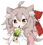 1girl ahoge animal_ear_fluff animal_ears bangs blush bow brown_hair bubble_tea byako_(srktn) cat_ears cat_girl closed_mouth clothes_writing cup disposable_cup drawstring drinking_straw eyebrows_visible_through_hair hair_between_eyes hair_bow hands_up holding holding_cup hood hood_down hoodie long_hair long_sleeves looking_at_viewer multicolored_hair original pink_hair puffy_long_sleeves puffy_sleeves red_bow red_eyes sleeves_past_wrists solo standing two-tone_hair very_long_hair white_background white_hoodie
