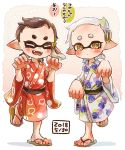 +_+ 2girls aori_(splatoon) black_hair blush brown_eyes child claw_pose closed_eyes commentary cousins dated domino_mask eighth_note facing_viewer fangs grey_hair hair_ornament harutarou_(orion_3boshi) hotaru_(splatoon) japanese_clothes kimono leg_up looking_at_viewer mask medium_hair mole mole_under_eye multiple_girls musical_note open_mouth pointy_ears print_kimono red_kimono sandals sash shadow short_hair smile splatoon_(series) splatoon_1 squid_pose standing standing_on_one_leg tentacle_hair translated very_short_hair white_kimono wide_sleeves younger