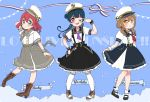 3girls :o ;d back_bow bangs belt black_footwear black_skirt blue_background blue_hair blush bobby_socks boots bow braid brown_footwear brown_hair character_name commentary_request copyright_name cross-laced_footwear double-breasted full_body green_eyes grey_neckwear hand_on_hip hat high_heel_boots high_heels izumi_kirifu kneehighs kunikida_hanamaru kurosawa_ruby long_hair looking_at_viewer love_live! love_live!_sunshine!! mary_janes multiple_girls neckerchief one_eye_closed open_mouth peaked_cap purple_neckwear red_neckwear redhead ribbon sailor sailor_collar shirt shoes side_bun sidelocks skirt skirt_hold smile socks striped striped_ribbon suspender_skirt suspenders tsushima_yoshiko twintails v-shaped_eyebrows v_over_eye violet_eyes white_legwear wrist_cuffs yellow_eyes