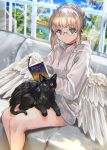 1girl angel angel_wings bare_legs black_cat black_choker blonde_hair blue_sky blush braid breasts cat cat_on_lap choker chromatic_aberration commentary couch feet_out_of_frame floating_island french_braid from_above glasses green_eyes highres indoors light_rays original parted_lips ran'ou_(tamago_no_kimi) reading sitting sky small_breasts solo thighs window wings