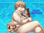 1boy :t blazer blue_background blue_eyes brown_hair character_doll collared_shirt crossed_arms crossed_legs danganronpa dress_shirt eating food food_on_face grey_ribbon happy_birthday holding holding_food invisible_chair jacket long_sleeves looking_at_viewer male_focus neck_ribbon pants ribbon semi-rimless_eyewear shirt sitting solo super_danganronpa_2 togami_byakuya_(super_danganronpa_2) under-rim_eyewear white-framed_eyewear white_jacket white_pants white_shirt wing_collar yumaru_(marumarumaru)