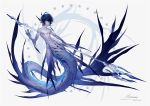1boy arsh_(thestarwish) artist_name black_hair closed_mouth dated fins gills grey_background heterochromia holding holding_weapon looking_at_viewer male_focus merman monster_boy navel nipples original pale_skin polearm simple_background solo star toned toned_male trident weapon