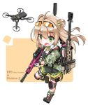 1girl blush brown_hair dog_tags double_bun drone eyebrows_visible_through_hair eyewear_on_head fatkewell girls_frontline green_eyes gun hair_between_eyes highres holding holding_gun holding_weapon knee_pads long_hair open_mouth rfb_(girls_frontline) rifle simple_background solo thigh_strap weapon