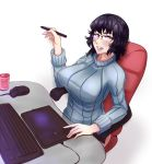 1girl breasts chair drawing_tablet glasses grey_eyes highres large_breasts lipstick looking_at_viewer makeup mangaka mouse_(computer) nofuture original purple_hair ribbed_sweater short_hair simple_background sitting solo sweater wacom white_background