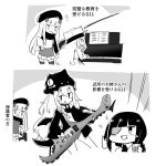 3girls alternate_costume angry assault_rifle commentary_request eyepatch g11_(girls_frontline) girls_frontline gun h&k_hk416 hk416_(girls_frontline) instrument jacket kemejiho keytar m16a1_(girls_frontline) multiple_girls music piano playing_instrument rifle teaching thumbs_up translated weapon