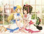 2girls :d ahoge animal animal_ears bangs beret black_cat black_hair blue_bow blush bosack bow brown_eyes cat cat_ears cat_girl cat_tail center_frills chair closed_mouth collared_dress commentary commission dress english_commentary eyebrows_visible_through_hair flower frills hair_between_eyes hair_bow hat looking_at_viewer low_twintails multiple_girls open_mouth original pillow pink_bow puffy_short_sleeves puffy_sleeves red_bow red_eyes rocking_chair round_teeth short_sleeves sitting smile star tail tail_bow teeth twintails upper_teeth wariza watermark white_dress white_flower white_headwear window