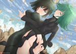 2girls ass bangs black_dress black_hair breasts clouds commentary curly_hair day dress english_commentary eyebrows_visible_through_hair fubuki_(one-punch_man) green_eyes green_hair hair_between_eyes hand_on_another's_ass joko_jmc large_breasts long_sleeves looking_at_viewer multiple_girls no_panties one-punch_man outdoors short_hair siblings sisters small_breasts tatsumaki telekinesis watermark web_address