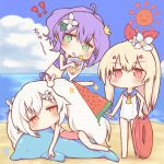 3girls ahoge ayanami_(azur_lane) azur_lane bangs barefoot beach bendy_straw bikini blonde_hair blue_bikini blue_sailor_collar blue_sky blush brown_eyes casual_one-piece_swimsuit chibi clouds cloudy_sky crown cup day drinking_glass drinking_straw eyebrows_visible_through_hair flower food green_eyes hair_between_eyes hair_flower hair_ornament hair_ribbon high_ponytail holding holding_cup holding_food horizon inflatable_dolphin inflatable_toy innertube javelin_(azur_lane) laffey_(azur_lane) long_hair mini_crown multiple_girls navel ocean one-piece_swimsuit orange_neckwear outdoors pink_swimsuit ponytail popsicle purple_hair red_eyes red_ribbon ribbon sailor_collar sakurato_ototo_shizuku sand sky sparkle standing sun_(symbol) swimsuit tilted_headwear tropical_drink twintails v-shaped_eyebrows very_long_hair water watermelon_bar white_flower white_hair white_swimsuit