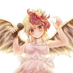 1girl alternate_costume animal animal_on_head apron armpits arms_up bird bird_wings blonde_hair blush breasts chick commentary_request cowboy_shot feathered_wings fingernails grin head_tilt holding kerotsupii_deisuku looking_at_viewer medium_breasts multicolored_hair naked_apron niwatari_kutaka on_head pepper_shaker redhead sideboob simple_background smile solo standing touhou two-tone_hair white_background wings yellow_eyes