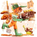 ! 1girl bangs baseball_cap blunt_bangs boots check_translation closed_eyes commentary dated eighth_note fangs gloves green_footwear green_gloves green_headwear grizco_blaster_(splatoon) harutarou_(orion_3boshi) hat holding holding_weapon inkling lifebuoy logo long_hair musical_note open_mouth orange_hair orange_overalls overalls paint_splatter pointy_ears print_hat rubber_boots rubber_gloves running salmon_run salmonid smile solo splatoon_(series) splatoon_2 spoken_exclamation_mark tentacle_hair translated weapon