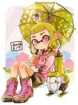 1girl ankle_boots autobomb_(splatoon) bangs black_shorts black_skirt blunt_bangs boots closed_mouth commentary cross-laced_footwear domino_mask drawstring flower green_hair harutarou_(orion_3boshi) highres holding holding_umbrella holding_weapon hood hoodie ink_tank_(splatoon) inkling inkling_(language) lace-up_boots leaning_back light_frown logo long_sleeves looking_at_viewer mask miniskirt pink_footwear pink_shirt pointy_ears polka_dot print_skirt rain shadow shirt shorts shorts_under_skirt single_vertical_stripe sitting skirt solo splat_brella_(splatoon) splatoon_(series) splatoon_2 tentacle_hair umbrella violet_eyes weapon
