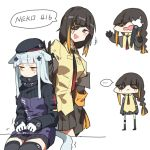 ... 2girls anger_vein animal_ears armband bangs beret black_hair black_headwear blonde_hair braid cat_ears cat_tail collared_shirt eyepatch facial_mark girls_frontline gloves hat hk416_(girls_frontline) jacket long_hair long_sleeves m16a1_(girls_frontline) multicolored_hair multiple_girls necktie open_mouth paws shirt silver_hair simple_background skirt spoken_ellipsis streaked_hair tail white_background yellow_eyes zocehuy