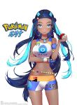 1girl absurdres armlet ass_visible_through_thighs bangs bare_shoulders blue_eyes breasts copyright_name dark_skin dlgksk6965 earrings eyebrows_visible_through_hair highres holding hoop_earrings jewelry long_hair looking_at_viewer multicolored_hair navel number pokemon pokemon_(game) pokemon_swsh rurina_(pokemon) shorts signature simple_background smile solo sports_bra standing stomach two-tone_hair white_background wristband