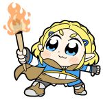 1girl :3 bkub blonde_hair blue_eyes blush_stickers boots braid cloak commentary dot_nose fingerless_gloves fire gloves hair_ornament hairclip holding_torch light_blush looking_to_the_side pants pointy_ears princess_zelda short_hair simple_background solo standing the_legend_of_zelda the_legend_of_zelda:_breath_of_the_wild the_legend_of_zelda:_breath_of_the_wild_2 white_background