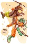 !? 1girl baseball_cap boots carrying dated domino_mask flying from_side frown gloves green_footwear green_gloves green_headwear grimace harutarou_(orion_3boshi) hat highres holding holding_weapon inkling lifebuoy long_sleeves mask medium_hair n-zap_(splatoon) orange_eyes orange_overalls overalls paint_splatter pointy_ears ponytail print_hat propeller_hat rubber_boots rubber_gloves salmon_run salmonid shirt solo splatoon_(series) splatoon_2 spoken_interrobang sweatdrop tentacle_hair weapon white_shirt