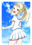 1girl :d absurdres bangs blonde_hair blue_sky blunt_bangs blush clouds cowboy_shot floating_hair green_eyes highres lillie_(pokemon) long_hair looking_at_viewer miniskirt open_mouth pleated_skirt pokemon pokemon_(game) pokemon_sm shirt short_sleeves skirt sky smile solo standing white_shirt white_skirt yuihiko