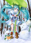 1girl :3 absurdres animal aqua_hair blue_eyes boots bubble_skirt capelet cherry closed_eyes commentary english_commentary flower food forest fruit fur-trimmed_boots fur_trim giant_leaf hair_flower hair_ornament hatsune_miku headband highres holding holding_leaf kian leaf long_hair nature palms_together parted_lips rabbit ribbon skirt snow snowbell_(flower) snowflake_print snowflakes snowman twintails very_long_hair vocaloid winter yuki_miku yuki_miku_(2015) yukine_(vocaloid)