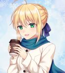 1girl :d ahoge artoria_pendragon_(all) bangs blonde_hair blue_background blue_ribbon blue_scarf braided_bun cup eyebrows_visible_through_hair fate/stay_night fate_(series) gradient gradient_background green_eyes hair_between_eyes hair_ribbon holding open_mouth ribbon saber scarf shino_skk short_hair smile snowflakes solo steam teacup upper_body white_coat