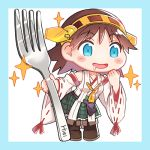 1girl boots border brown_hair character_name chibi commentary_request detached_sleeves drooling flipped_hair fork green_border green_skirt hairband headgear hiei_(kantai_collection) kantai_collection leaning_forward lowres open_mouth oversized_object plaid plaid_skirt ribbon-trimmed_sleeves ribbon_trim saki_(little_crown) saliva short_hair skirt smile solo sparkle thigh-highs thigh_boots two-tone_background white_background
