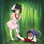2girls :3 =3 animal_ears arms_up bamboo bare_arms bare_legs barefoot beret black_eyes black_hair carrot carrot_necklace chin_rest closed_mouth day dress fang floppy_ears flying_sweatdrops hand_rest hands_up hat head_rest hole inaba_tewi jakomurashi jiangshi looking_at_another looking_down looking_up miyako_yoshika multiple_girls ofuda open_mouth outdoors outstretched_arms outstretched_hand pink_dress puffy_short_sleeves puffy_sleeves rabbit_ears red_eyes shirt short_dress short_hair short_sleeves shovel sigh standing star toes touhou