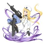 1girl alice_schuberg black_gloves blonde_hair blue_eyes blue_pants boots bow braided_ponytail floating_hair full_body gloves grey_footwear gun hair_bow hat highres holding holding_gun holding_weapon knee_boots long_hair long_sleeves military_coat military_hat official_alternate_costume pants parted_lips ponytail rifle shiny_footwear solo sword_art_online transparent_background very_long_hair weapon white_bow white_coat white_headwear