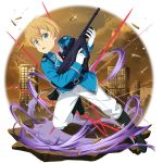 1boy belt belt_buckle black_belt black_footwear blonde_hair blue_jacket boots buckle bullet collared_shirt eugeo full_body gloves green_eyes gun hair_between_eyes highres holding holding_gun holding_weapon jacket looking_at_viewer male_focus military military_jacket military_uniform necktie official_alternate_costume official_art open_mouth pants red_neckwear rifle shirt solo sword_art_online transparent_background uniform weapon white_gloves white_pants white_shirt wing_collar