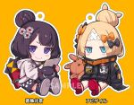 2girls abigail_williams_(fate/grand_order) alphy animal bangs black_bow black_footwear black_jacket black_shorts blonde_hair blue_eyes blush_stickers bow character_name chibi closed_mouth commentary_request covered_mouth crossed_bandaids eyebrows_visible_through_hair fate/grand_order fate_(series) grey_hoodie hair_bow hair_bun heroic_spirit_traveling_outfit hood hood_down hoodie jacket katsushika_hokusai_(fate/grand_order) key long_hair long_sleeves looking_at_viewer multiple_girls object_hug octopus orange_background orange_bow outline parted_bangs polka_dot polka_dot_bow purple_hair red_footwear sample shoe_soles shoes shorts sitting sleeves_past_fingers sleeves_past_wrists smile star stuffed_animal stuffed_toy teddy_bear tokitarou_(fate/grand_order) violet_eyes white_outline